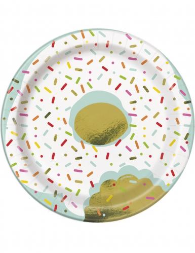 8 piattini in cartone Donuts bianchi e blu 18 cm