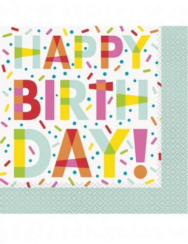 16 tovaglioli di carta bianchi Donuts Happy Birthday