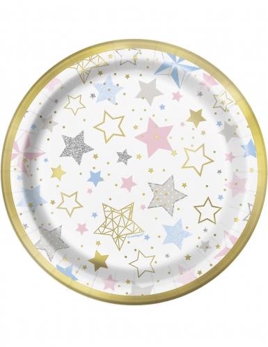 8 Piatti piccoli in cartone Little Star Stelle Colorate 18 cm
