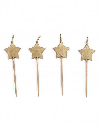 6 candeline stelle oro su bastoncino