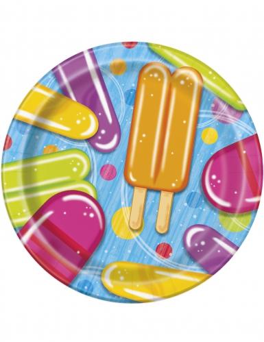 8 piattini in cartone con gelati 18 cm