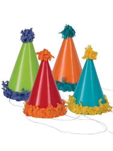 8 cappellini da festa con pon pon multicolor