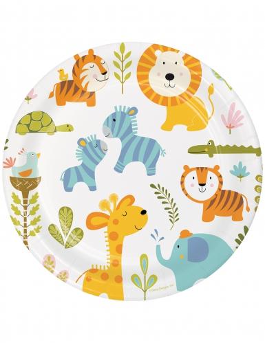 8 piatti in cartone animali della giungla 23 cm