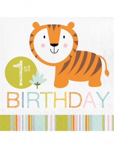 16 tovaglioli di carta 1 anno animali della giungla