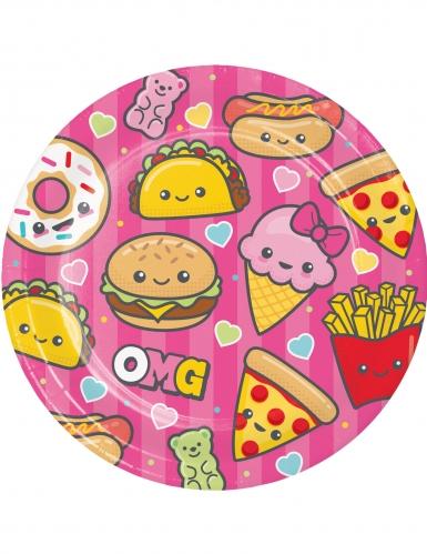 8 piatti in cartone Junk Food 23 cm