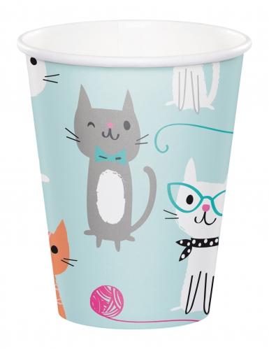 8 bicchieri in cartone celesti con gattini