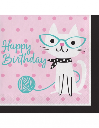 16 tovaglioli di carta Happy Birthday gattino vintage