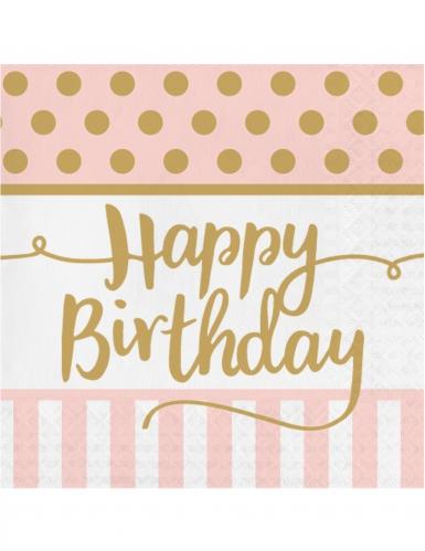 20 tovaglioli di carta compleanno rosa e oro