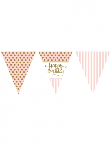 Ghirlanda di bandierine rosa e oro Happy Birthday