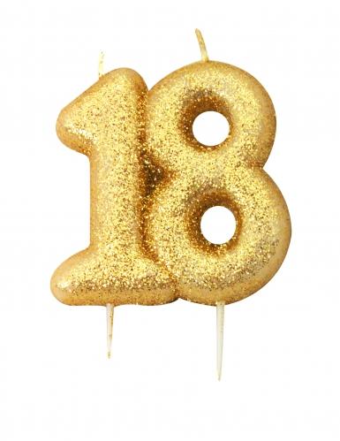 Candelina di compleanno oro brillante 18 anni