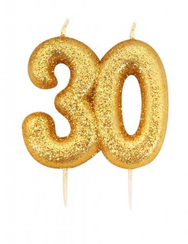 Candelina di compleanno oro brillante 30 anni