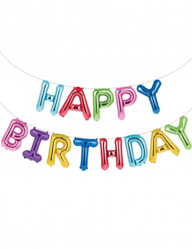 Ghirlanda palloncini alluminio Happy Birthday multicolor