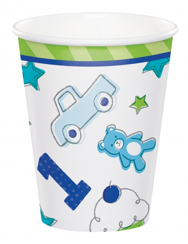8 Bicchieri in cartone 1° compleanno blu 266 ml