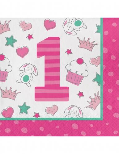 16 Tovaglioli in carta 1° compleanno rosa 33 cm