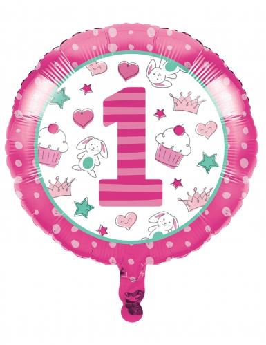 Palloncino in alluminio 1° compleanno rosa 45 cm