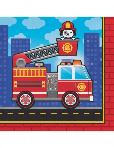 16 tovaglioli di carta camion dei pompieri