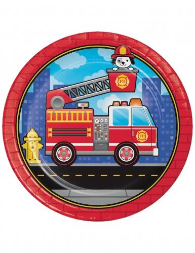 8 piatti in cartone camion dei pompieri 23 cm