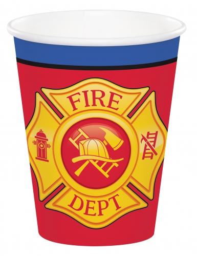 8 bicchieri in cartone camion dei pompieri