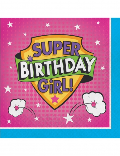 16 tovaglioli di carta Happy Birthday super eroine
