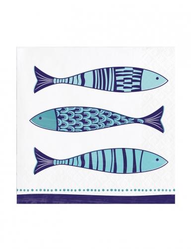 24 tovagliolini di carta pesci blu