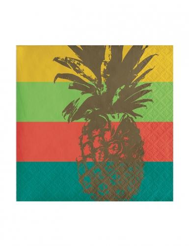 24 tovagliolini di carta ananas con righe multicolor