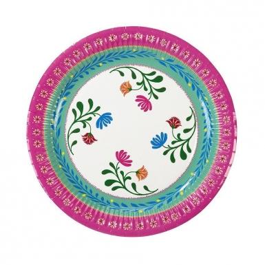 8 piatti in cartone con fiori gipsy 23 cm-1