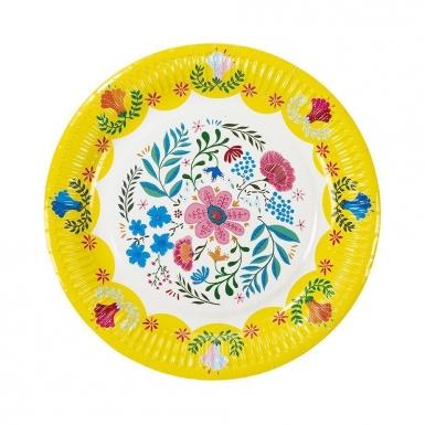 8 piatti in cartone con fiori gipsy 23 cm-2
