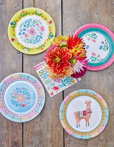 8 piatti in cartone con fiori gipsy 23 cm-4