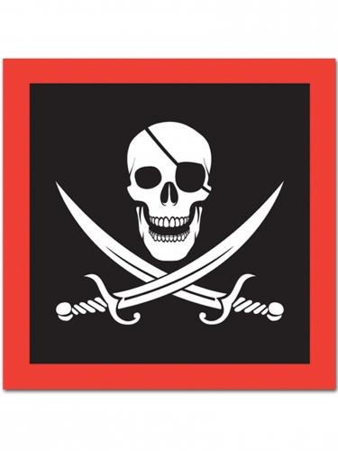 16 tovaglioli di carta neri e rossi pirata