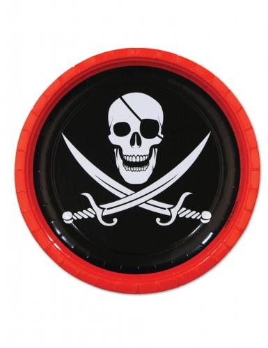 8 piatti in cartone neri e rossi pirata 23 cm