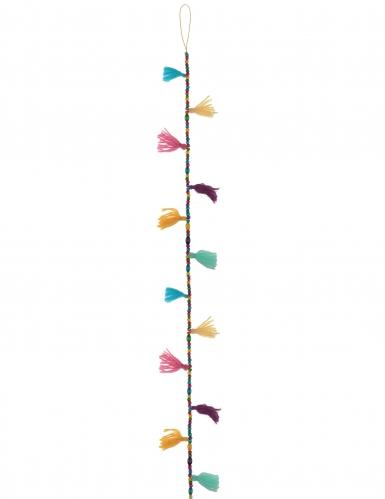 Ghirlanda di pon pon e perle multicolor