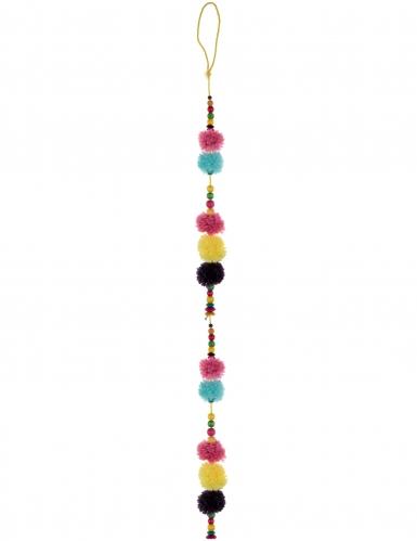 Ghirlanda multicolor con pon pon e perline in legno