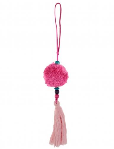 Sospensione con pon pon e perle fucsia