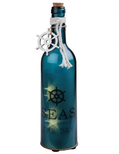 Bottiglia in vetro luminosa tema marino