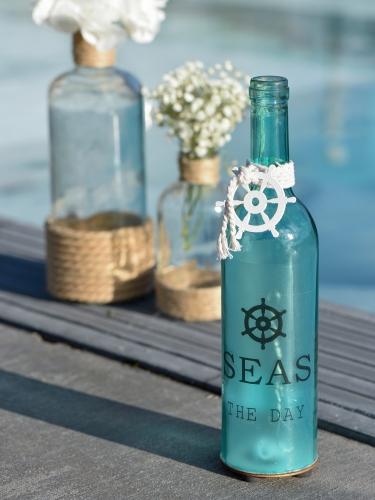 Bottiglia in vetro luminosa tema marino-1