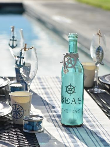 Bottiglia in vetro luminosa tema marino-2