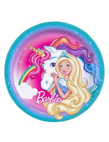 8 piatti in cartone Barbie™ e l'unicorno 23 cm