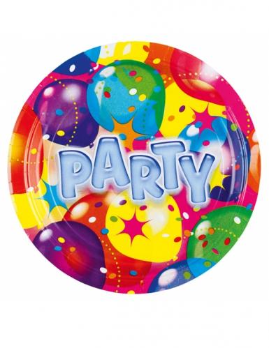 8 piattini in cartone palloncini party 18 cm