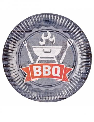 8 piatti in cartone BBQ party 23 cm