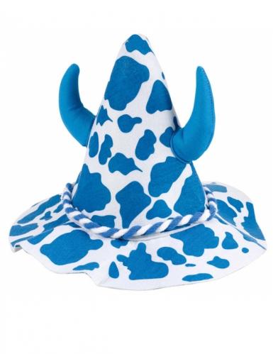 Cappello con macchie blu e bianche con corna