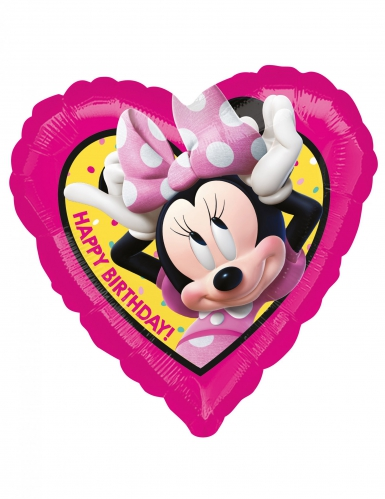 Palloncino alluminio cuore Happy Birthday Minnie™