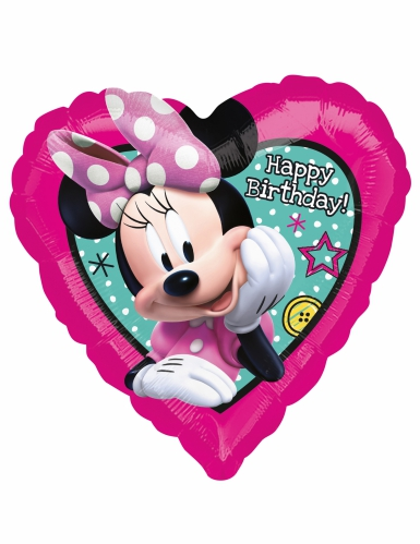 Palloncino alluminio cuore Happy Birthday Minnie™-1