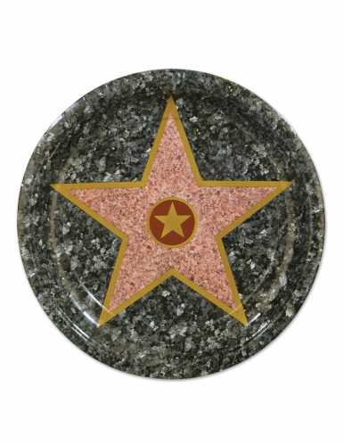 8 piattini in cartone stella di Hollywood 18 cm
