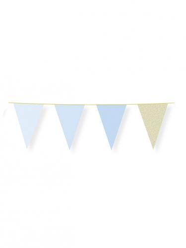 Ghirlanda di bandierine blu pastello con brillantini