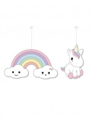 2 sospensioni in cartone Baby unicorno