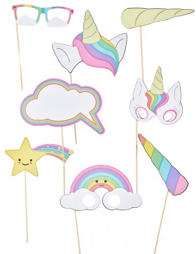 Kit photobooth 8 accessori baby unicorno