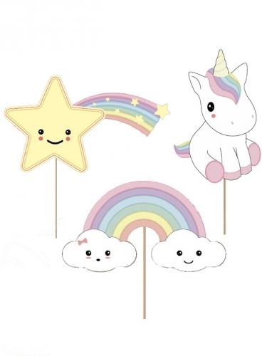 3 decorazioni per dolci a tema baby unicorno