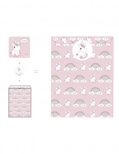 8 inviti con buste e adesivi Baby unicorno