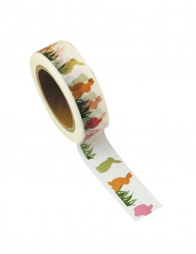 Washi tape bianco conigli multicolor