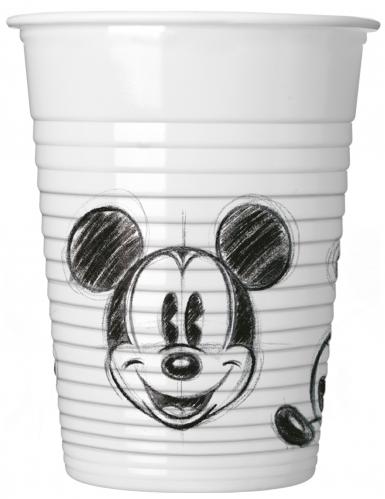 25 bicchieri in plastica Topolino™ bianco e nero